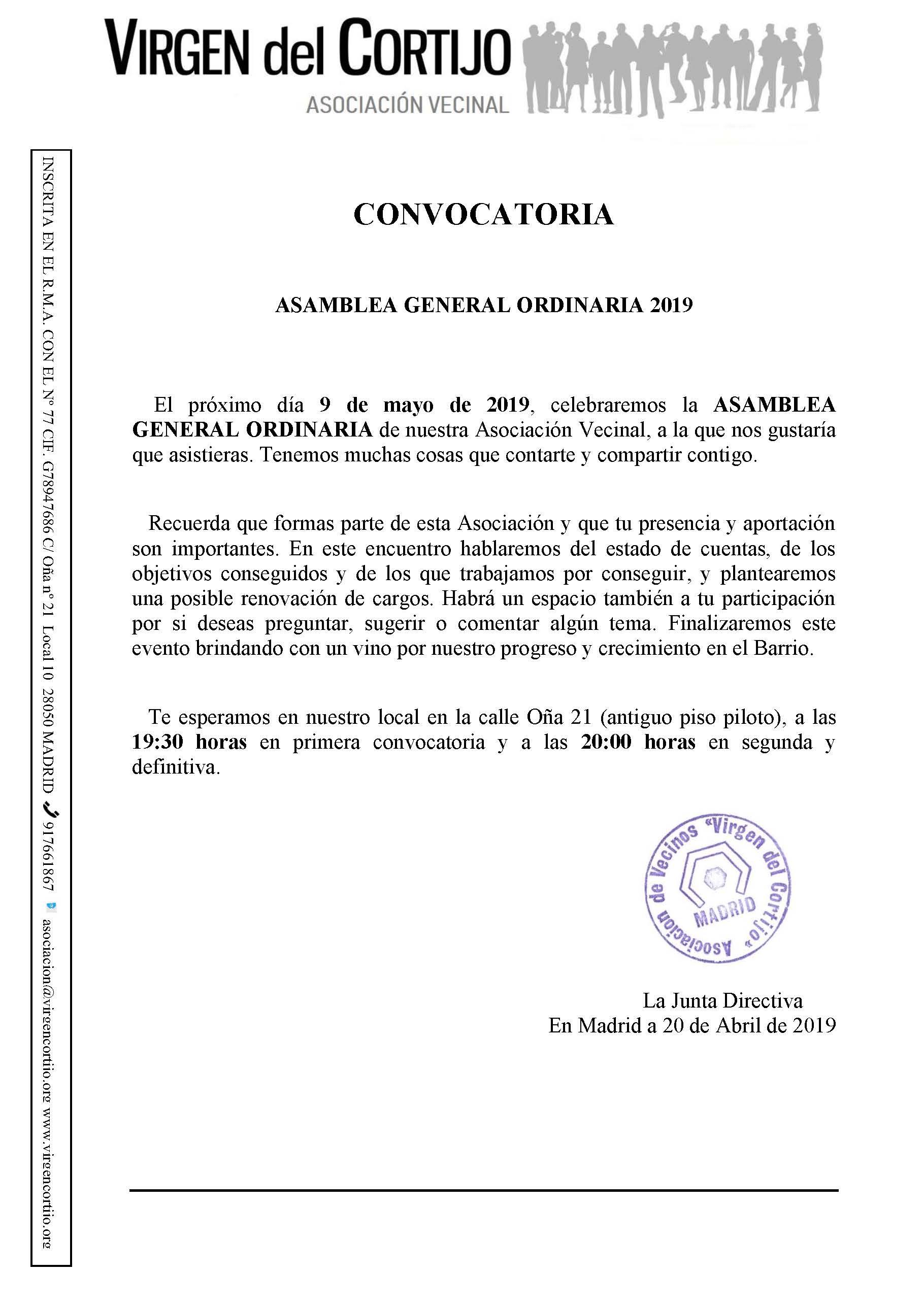 Convocatoria Asamblea 2019 web