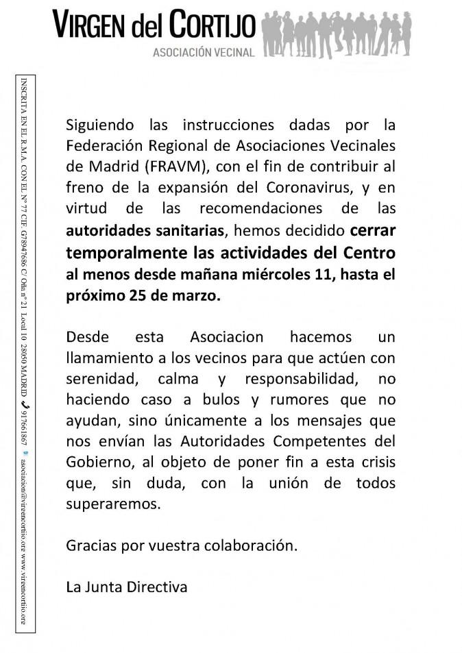 Aviso cierre centro_ AsocVCortijo