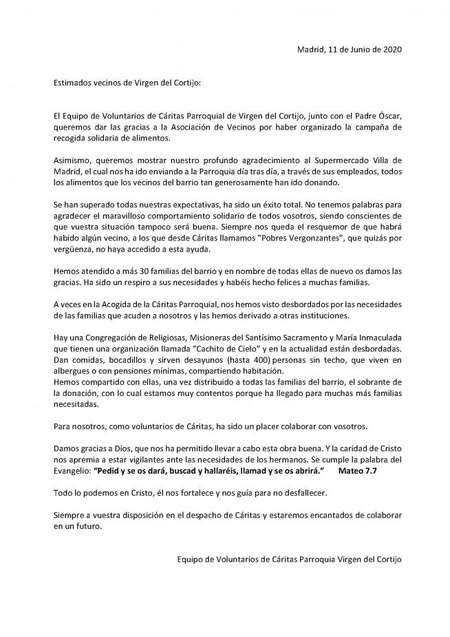 carta agradecimiento ALIMENTOS PARROQUIA COVID 19